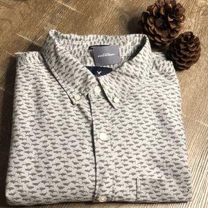 American Eagle Shark Print Bottom Down Shirt NWT L